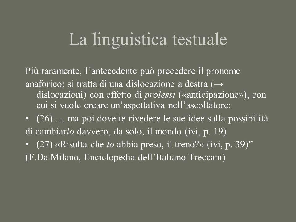La linguistica testuale Più raramente, lantecedente può precedere il pronome anaforico: si tratta di una dislocazione a destra ( dislocazioni) con eff
