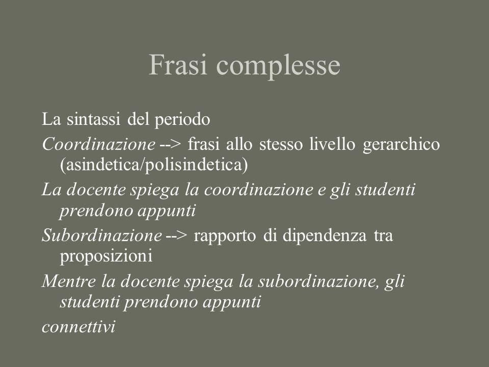 Frasi complesse La sintassi del periodo Coordinazione --> frasi allo stesso livello gerarchico (asindetica/polisindetica) La docente spiega la coordin