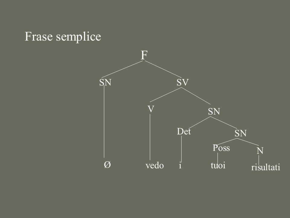 Frase semplice F SN Ø SV V vedo SN Det i SN Poss tuoi N risultati