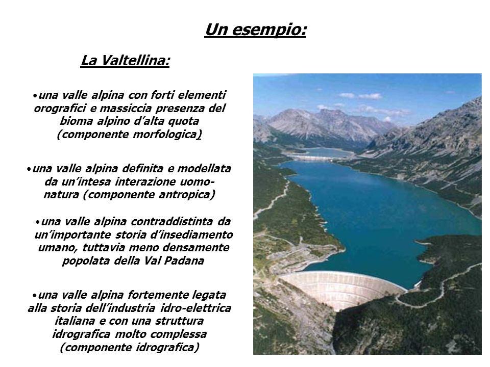 La Valtellina: Un esempio: una valle alpina con forti elementi orografici e massiccia presenza del bioma alpino dalta quota (componente morfologica) u