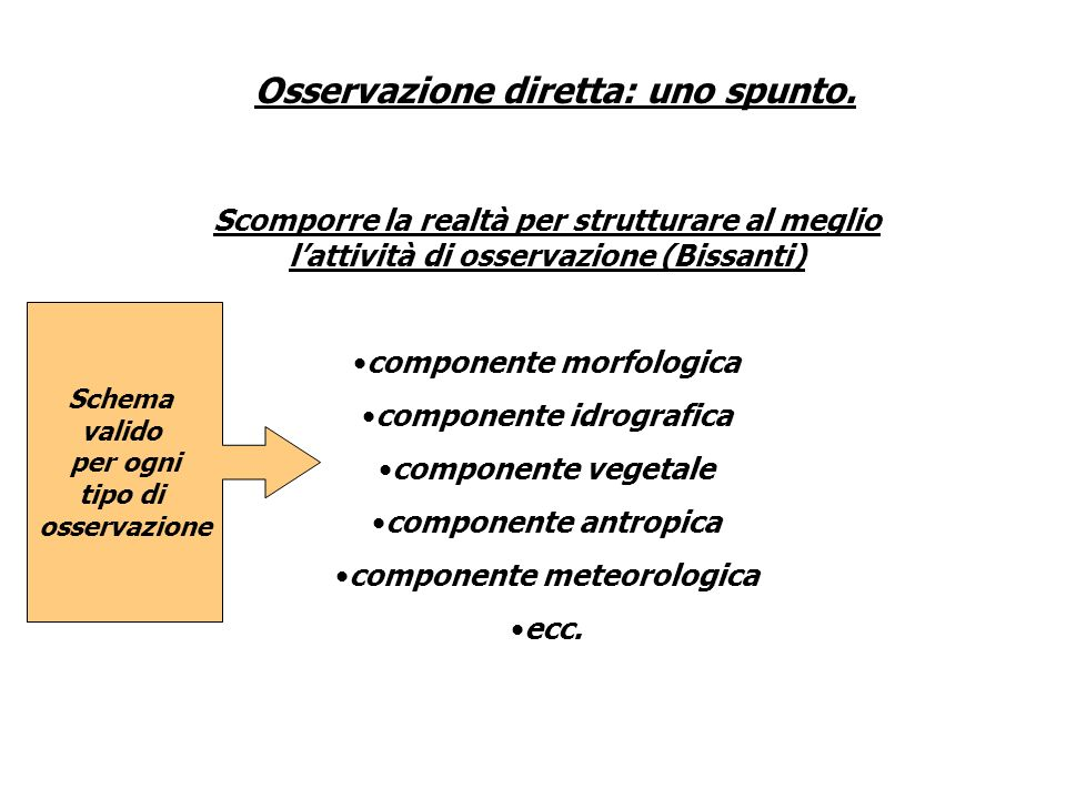 Scomporre la realtà per strutturare al meglio lattività di osservazione (Bissanti) componente morfologica componente idrografica componente vegetale c