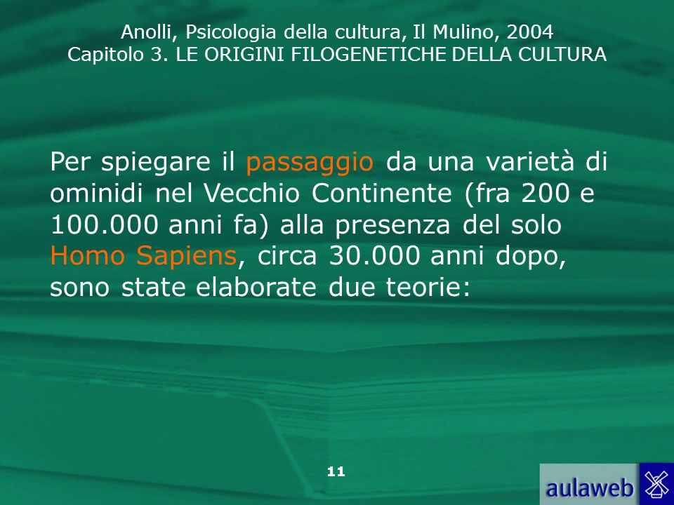 Anolli, Psicologia della cultura, Il Mulino, 2004 Capitolo 3. LE ORIGINI FILOGENETICHE DELLA CULTURA 11 Per spiegare il passaggio da una varietà di om