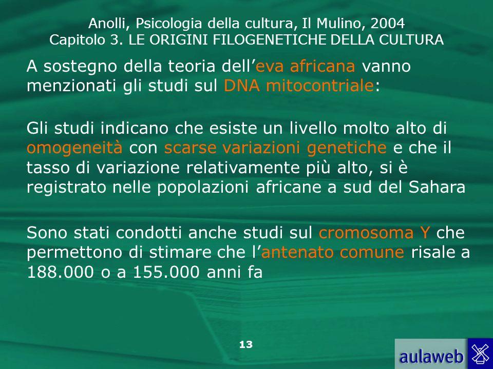 Anolli, Psicologia della cultura, Il Mulino, 2004 Capitolo 3. LE ORIGINI FILOGENETICHE DELLA CULTURA 13 A sostegno della teoria delleva africana vanno