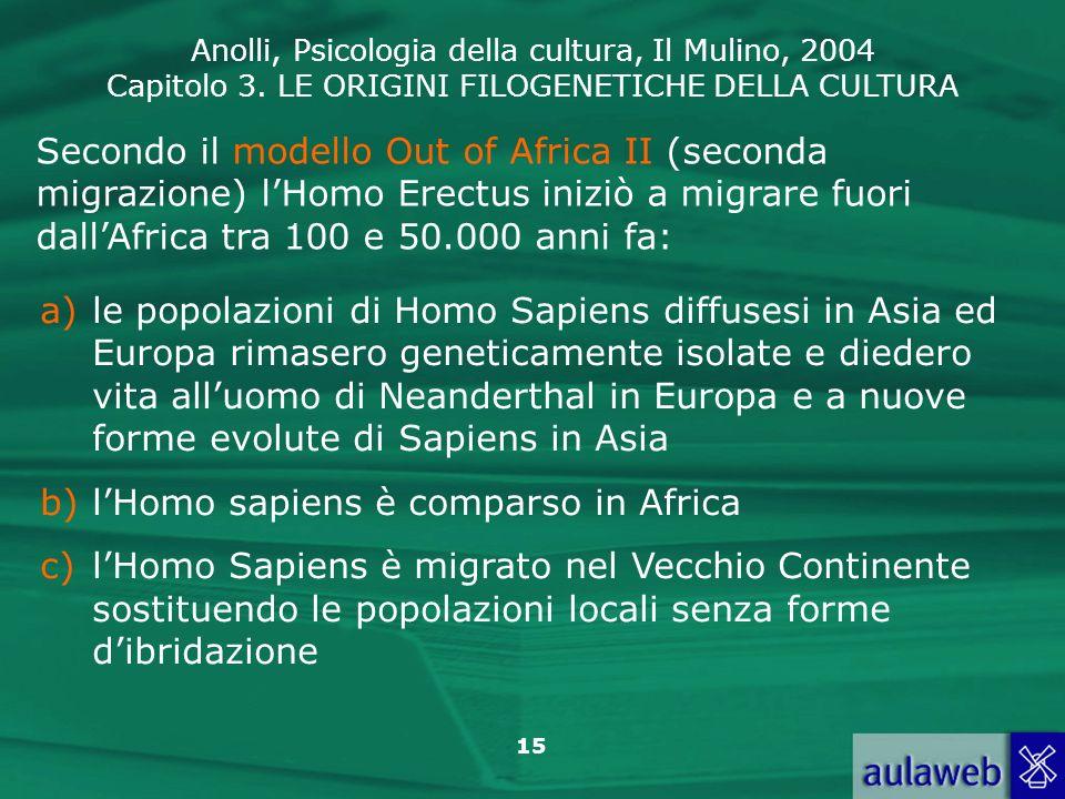 Anolli, Psicologia della cultura, Il Mulino, 2004 Capitolo 3. LE ORIGINI FILOGENETICHE DELLA CULTURA 15 Secondo il modello Out of Africa II (seconda m