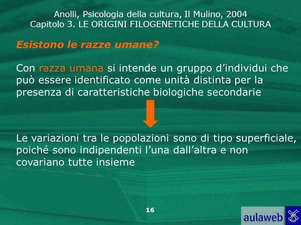 Anolli, Psicologia della cultura, Il Mulino, 2004 Capitolo 3. LE ORIGINI FILOGENETICHE DELLA CULTURA 16 Esistono le razze umane? Con razza umana si in
