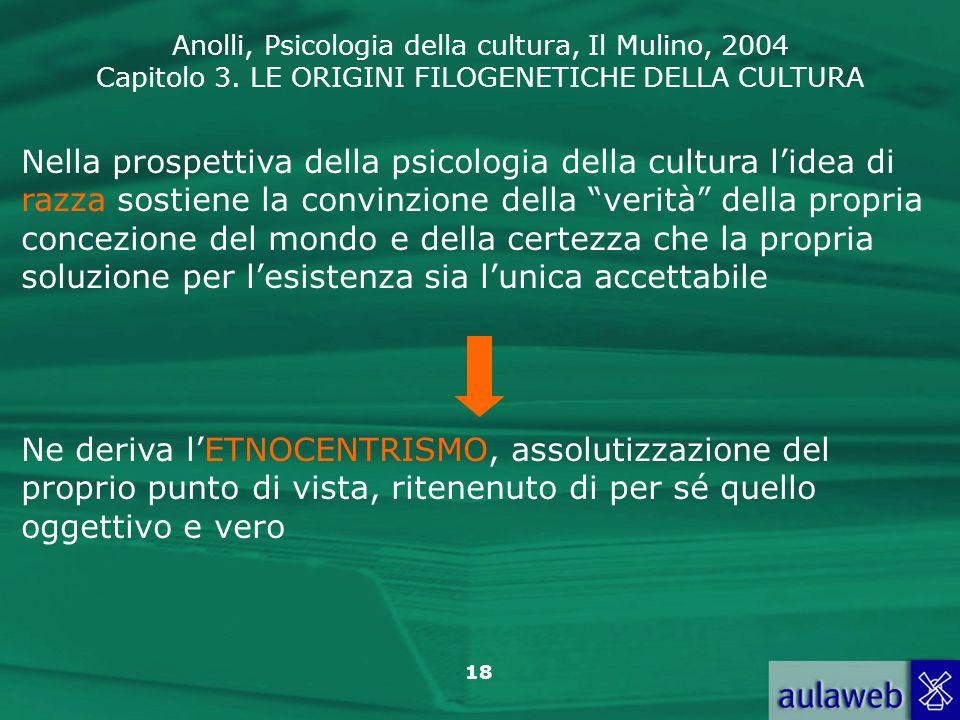 Anolli, Psicologia della cultura, Il Mulino, 2004 Capitolo 3. LE ORIGINI FILOGENETICHE DELLA CULTURA 18 Nella prospettiva della psicologia della cultu