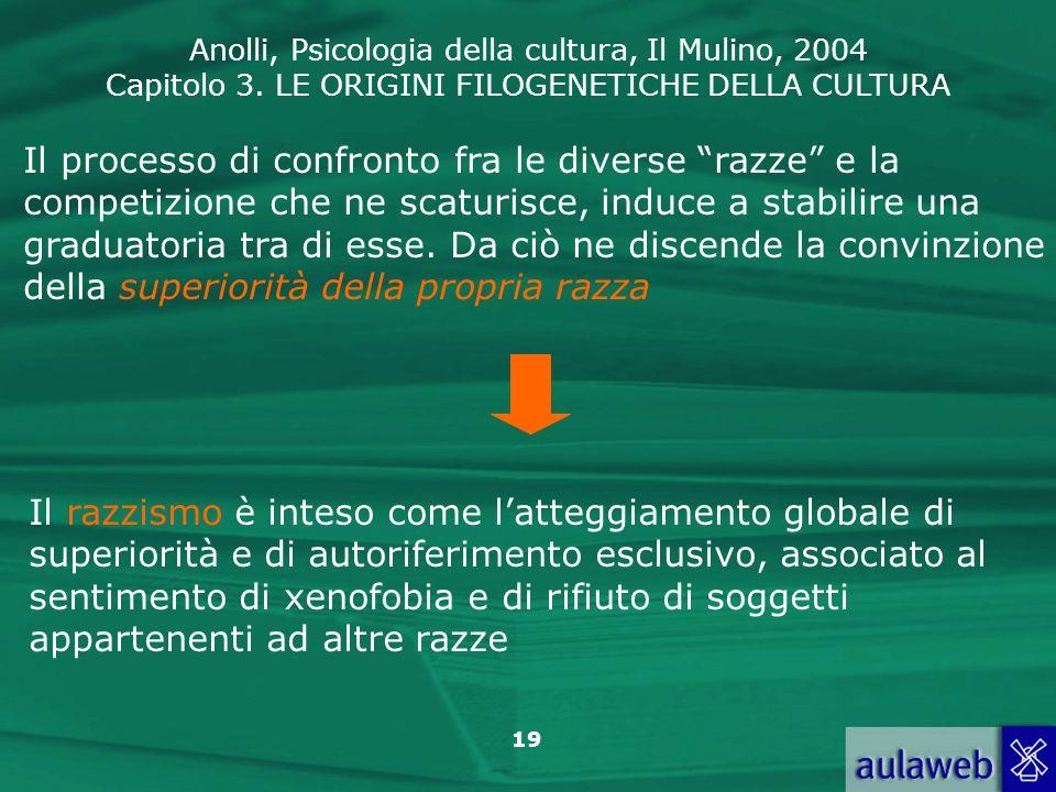 Anolli, Psicologia della cultura, Il Mulino, 2004 Capitolo 3. LE ORIGINI FILOGENETICHE DELLA CULTURA 19 Il processo di confronto fra le diverse razze