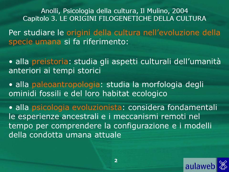 Anolli, Psicologia della cultura, Il Mulino, 2004 Capitolo 3. LE ORIGINI FILOGENETICHE DELLA CULTURA 2 Per studiare le origini della cultura nellevolu