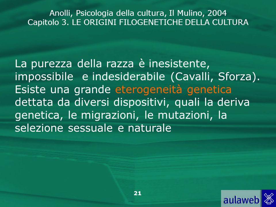 Anolli, Psicologia della cultura, Il Mulino, 2004 Capitolo 3. LE ORIGINI FILOGENETICHE DELLA CULTURA 21 La purezza della razza è inesistente, impossib