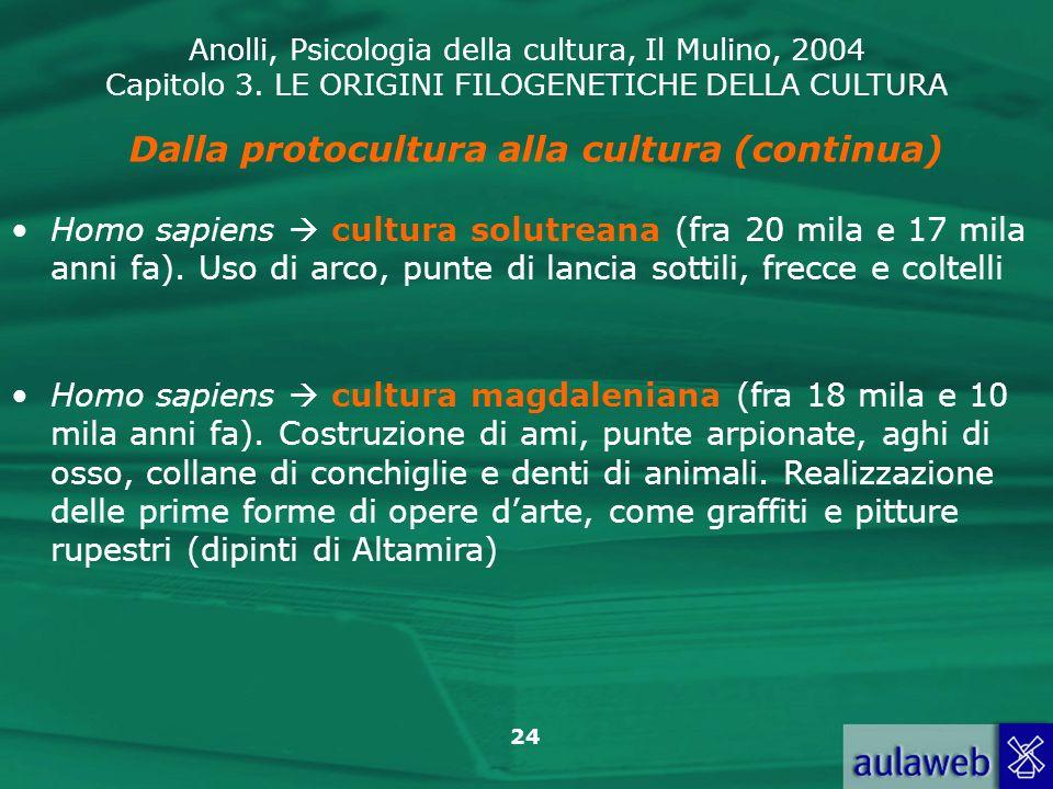 Anolli, Psicologia della cultura, Il Mulino, 2004 Capitolo 3. LE ORIGINI FILOGENETICHE DELLA CULTURA 24 Dalla protocultura alla cultura (continua) Hom