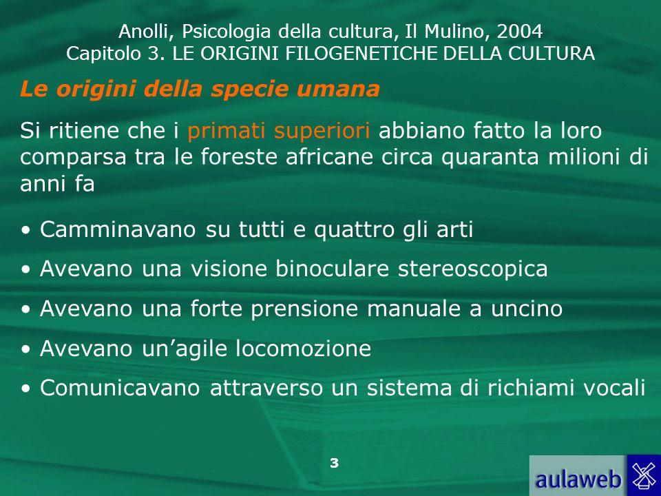 Anolli, Psicologia della cultura, Il Mulino, 2004 Capitolo 3. LE ORIGINI FILOGENETICHE DELLA CULTURA 3 Le origini della specie umana Si ritiene che i