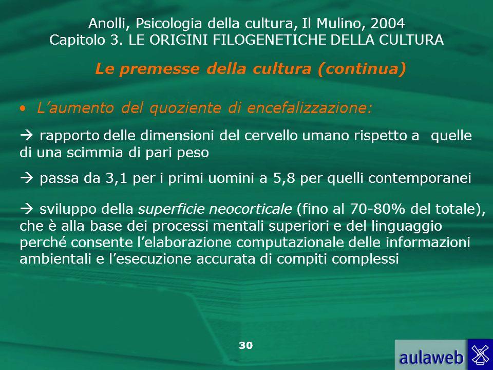 Anolli, Psicologia della cultura, Il Mulino, 2004 Capitolo 3. LE ORIGINI FILOGENETICHE DELLA CULTURA 30 Le premesse della cultura (continua) Laumento