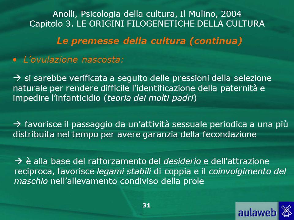 Anolli, Psicologia della cultura, Il Mulino, 2004 Capitolo 3. LE ORIGINI FILOGENETICHE DELLA CULTURA 31 Le premesse della cultura (continua) Lovulazio