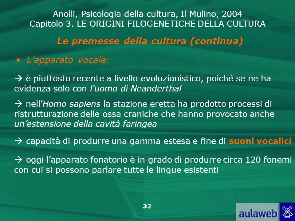Anolli, Psicologia della cultura, Il Mulino, 2004 Capitolo 3. LE ORIGINI FILOGENETICHE DELLA CULTURA 32 Le premesse della cultura (continua) Lapparato