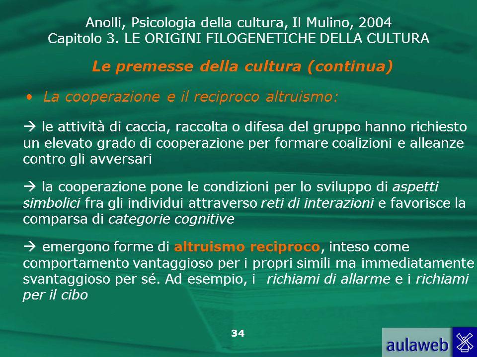 Anolli, Psicologia della cultura, Il Mulino, 2004 Capitolo 3. LE ORIGINI FILOGENETICHE DELLA CULTURA 34 Le premesse della cultura (continua) La cooper