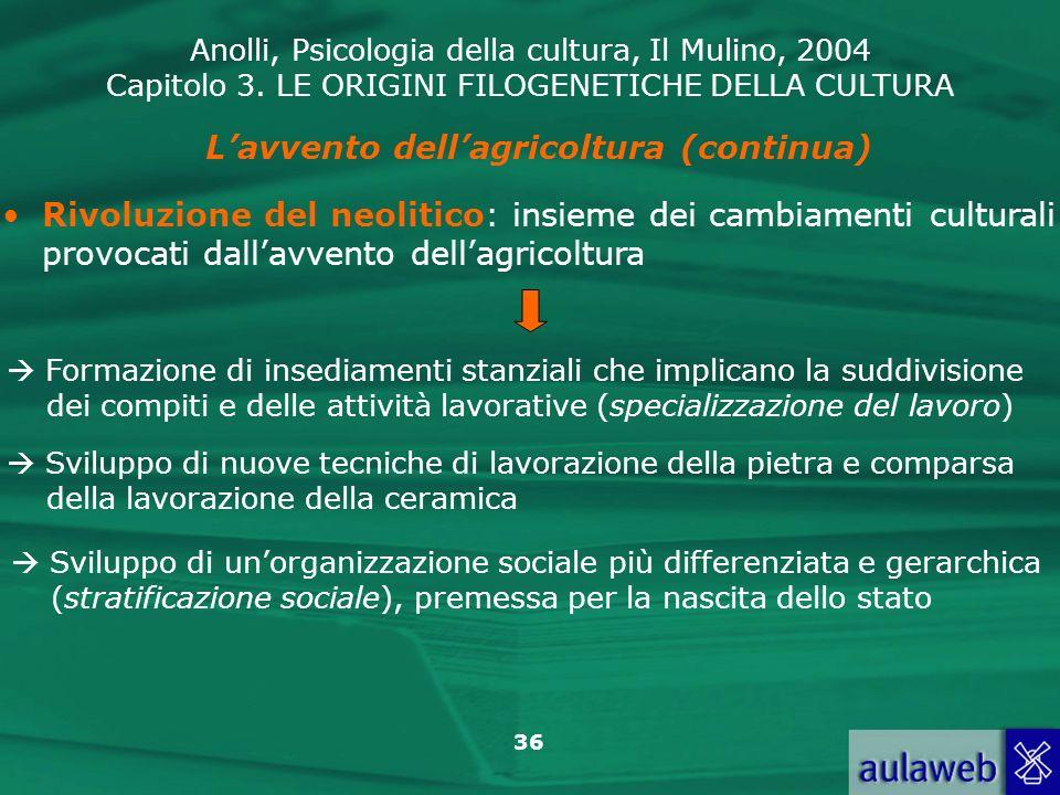 Anolli, Psicologia della cultura, Il Mulino, 2004 Capitolo 3. LE ORIGINI FILOGENETICHE DELLA CULTURA 36 Lavvento dellagricoltura (continua) Rivoluzion