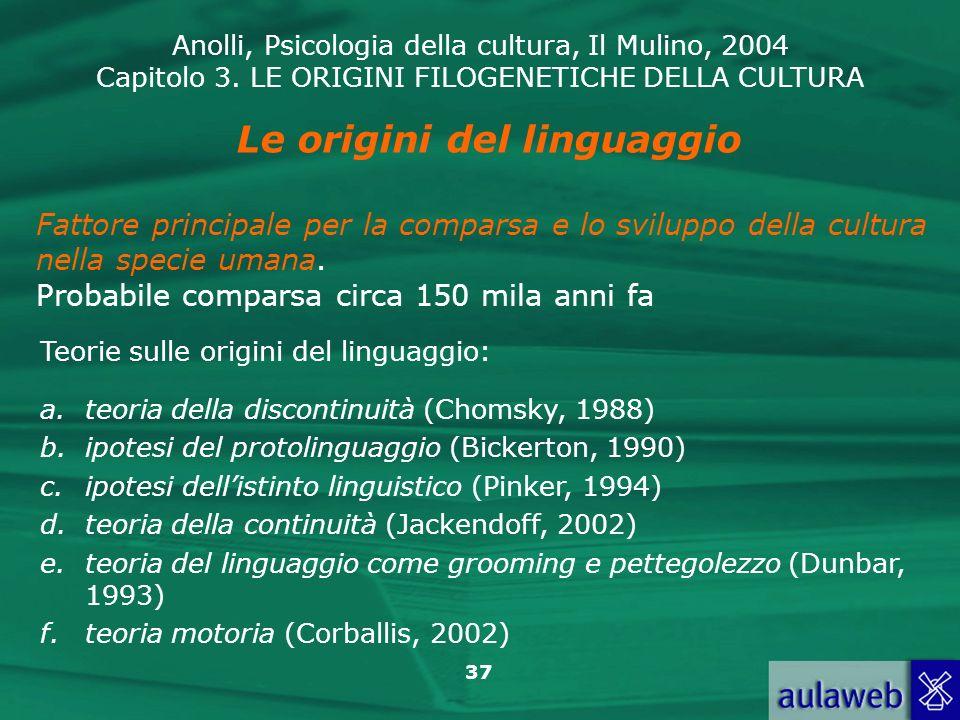 Anolli, Psicologia della cultura, Il Mulino, 2004 Capitolo 3. LE ORIGINI FILOGENETICHE DELLA CULTURA 37 Le origini del linguaggio Teorie sulle origini