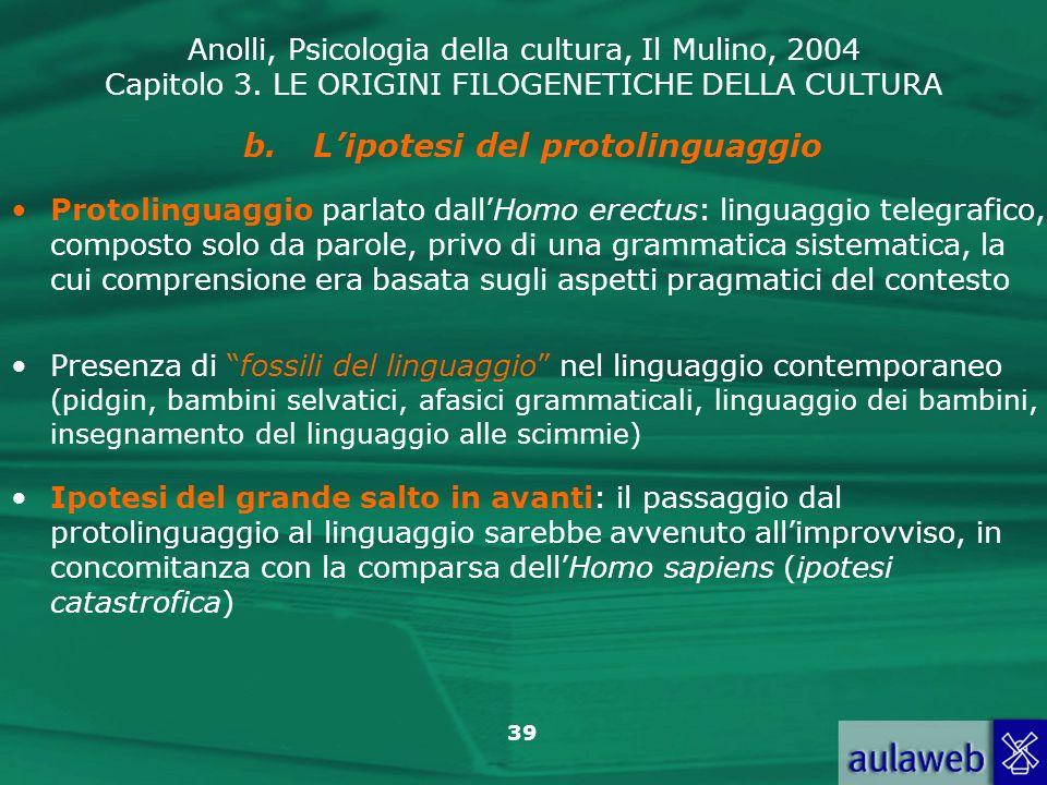 Anolli, Psicologia della cultura, Il Mulino, 2004 Capitolo 3. LE ORIGINI FILOGENETICHE DELLA CULTURA 39 b.Lipotesi del protolinguaggio Protolinguaggio