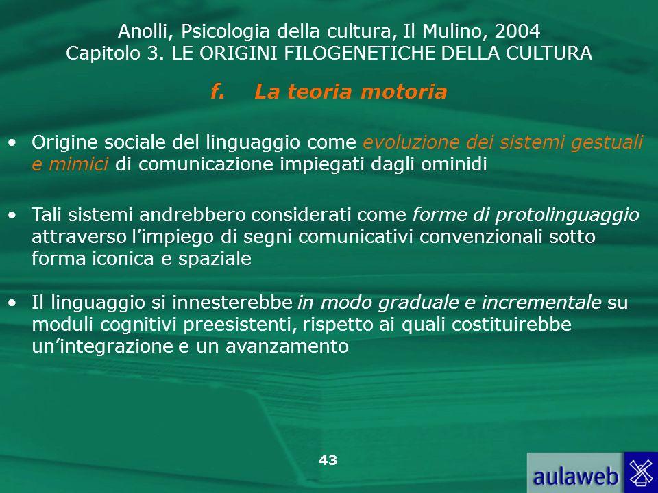 Anolli, Psicologia della cultura, Il Mulino, 2004 Capitolo 3. LE ORIGINI FILOGENETICHE DELLA CULTURA 43 f.La teoria motoria Origine sociale del lingua