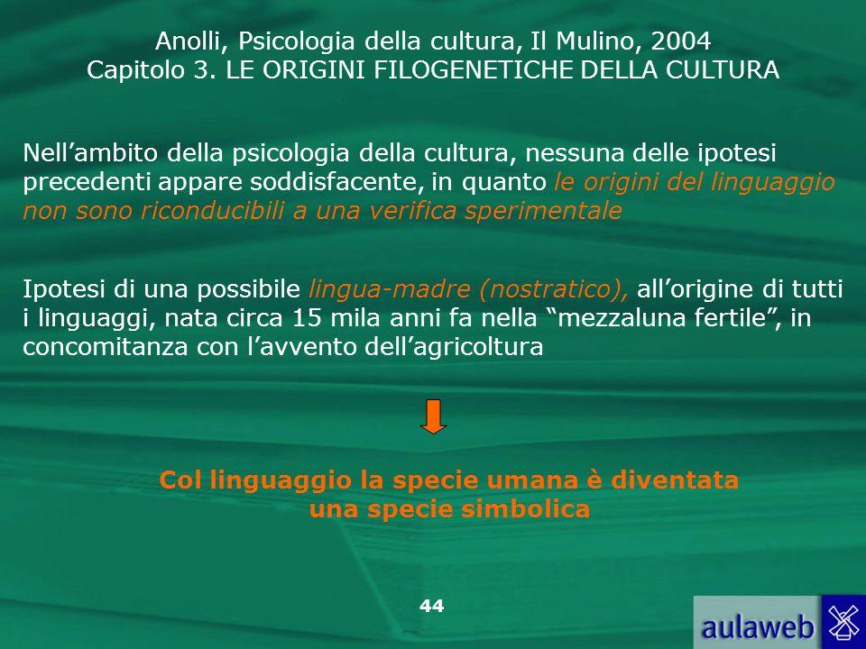 Anolli, Psicologia della cultura, Il Mulino, 2004 Capitolo 3. LE ORIGINI FILOGENETICHE DELLA CULTURA 44 Nellambito della psicologia della cultura, nes