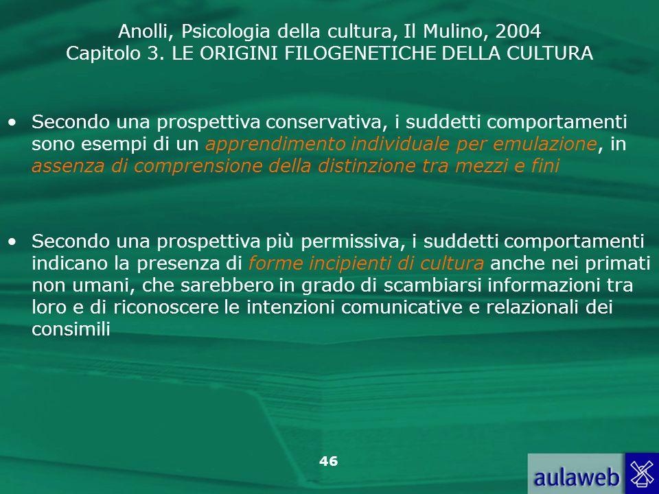 Anolli, Psicologia della cultura, Il Mulino, 2004 Capitolo 3. LE ORIGINI FILOGENETICHE DELLA CULTURA 46 Secondo una prospettiva più permissiva, i sudd
