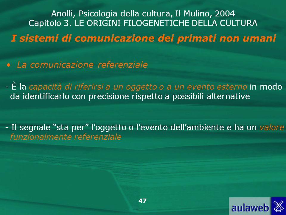 Anolli, Psicologia della cultura, Il Mulino, 2004 Capitolo 3. LE ORIGINI FILOGENETICHE DELLA CULTURA 47 - È la capacità di riferirsi a un oggetto o a