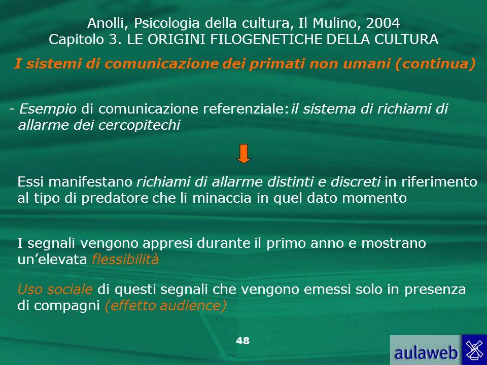 Anolli, Psicologia della cultura, Il Mulino, 2004 Capitolo 3. LE ORIGINI FILOGENETICHE DELLA CULTURA 48 - Esempio di comunicazione referenziale:il sis