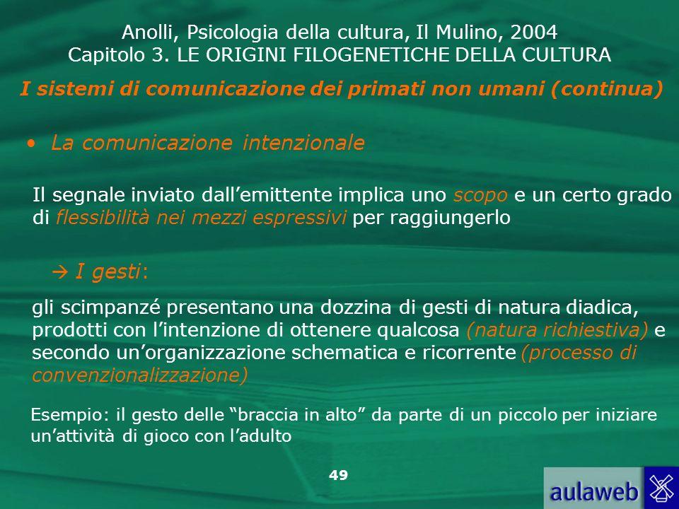 Anolli, Psicologia della cultura, Il Mulino, 2004 Capitolo 3. LE ORIGINI FILOGENETICHE DELLA CULTURA 49 I sistemi di comunicazione dei primati non uma