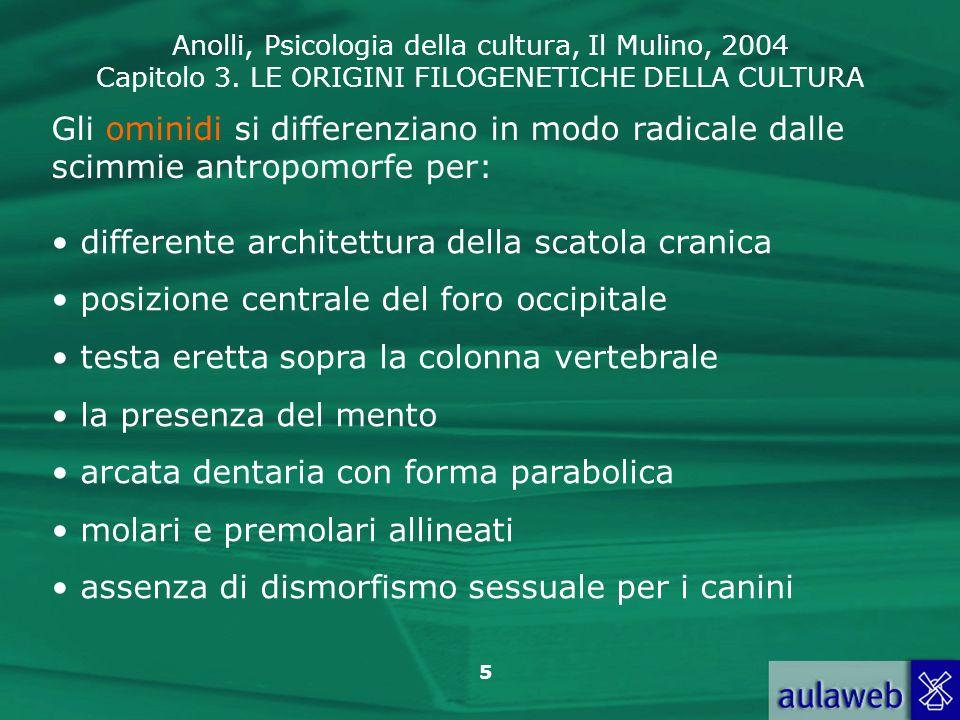 Anolli, Psicologia della cultura, Il Mulino, 2004 Capitolo 3. LE ORIGINI FILOGENETICHE DELLA CULTURA 5 differente architettura della scatola cranica p