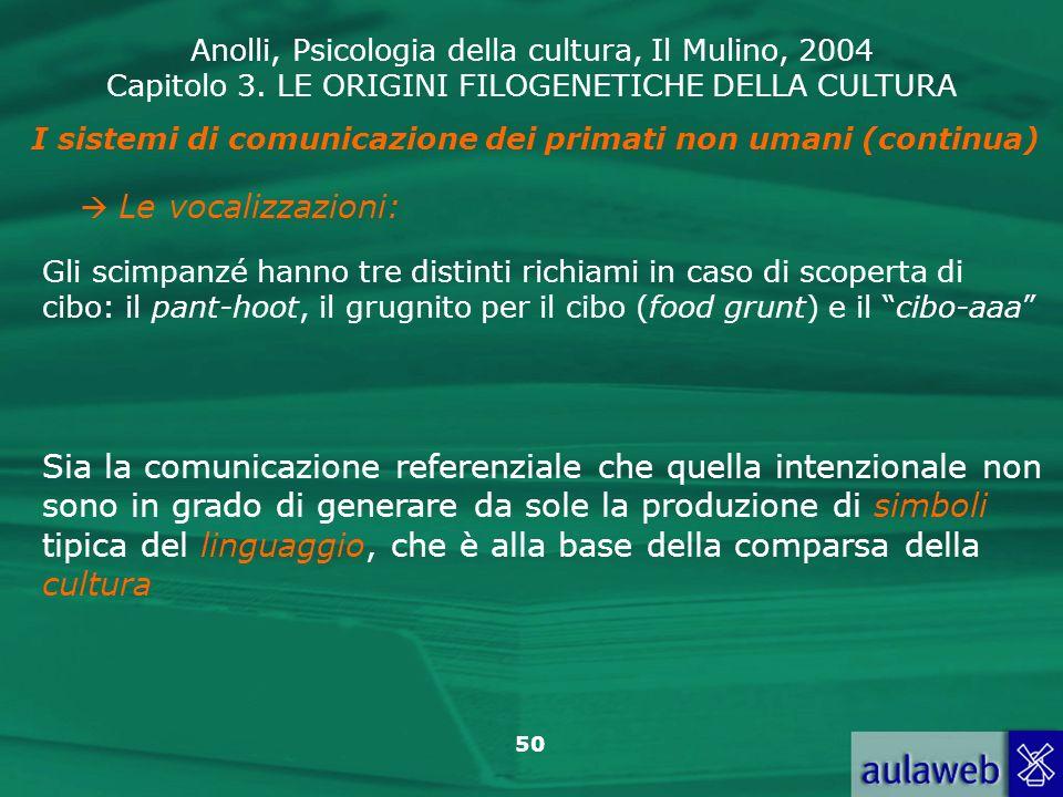 Anolli, Psicologia della cultura, Il Mulino, 2004 Capitolo 3. LE ORIGINI FILOGENETICHE DELLA CULTURA 50 I sistemi di comunicazione dei primati non uma