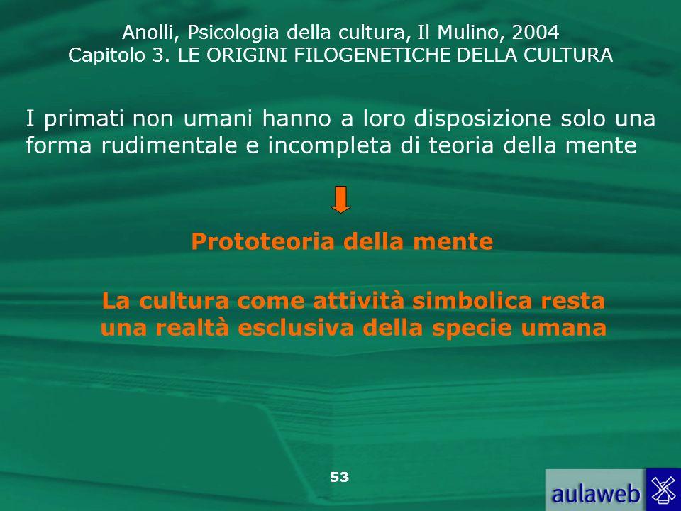 Anolli, Psicologia della cultura, Il Mulino, 2004 Capitolo 3. LE ORIGINI FILOGENETICHE DELLA CULTURA 53 I primati non umani hanno a loro disposizione