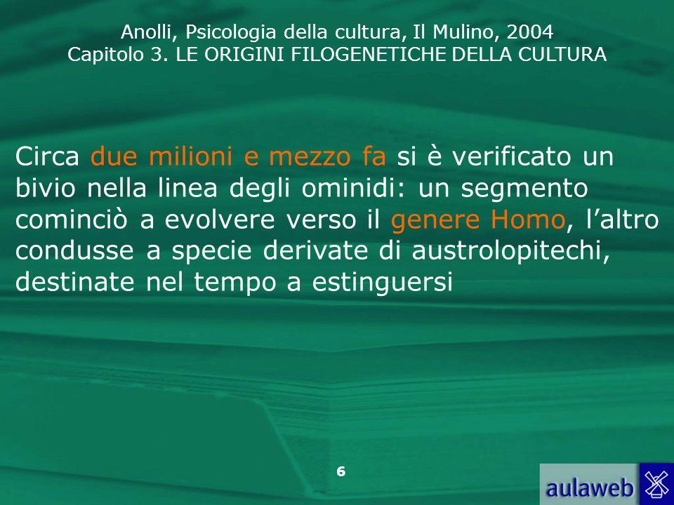 Anolli, Psicologia della cultura, Il Mulino, 2004 Capitolo 3. LE ORIGINI FILOGENETICHE DELLA CULTURA 6 Circa due milioni e mezzo fa si è verificato un