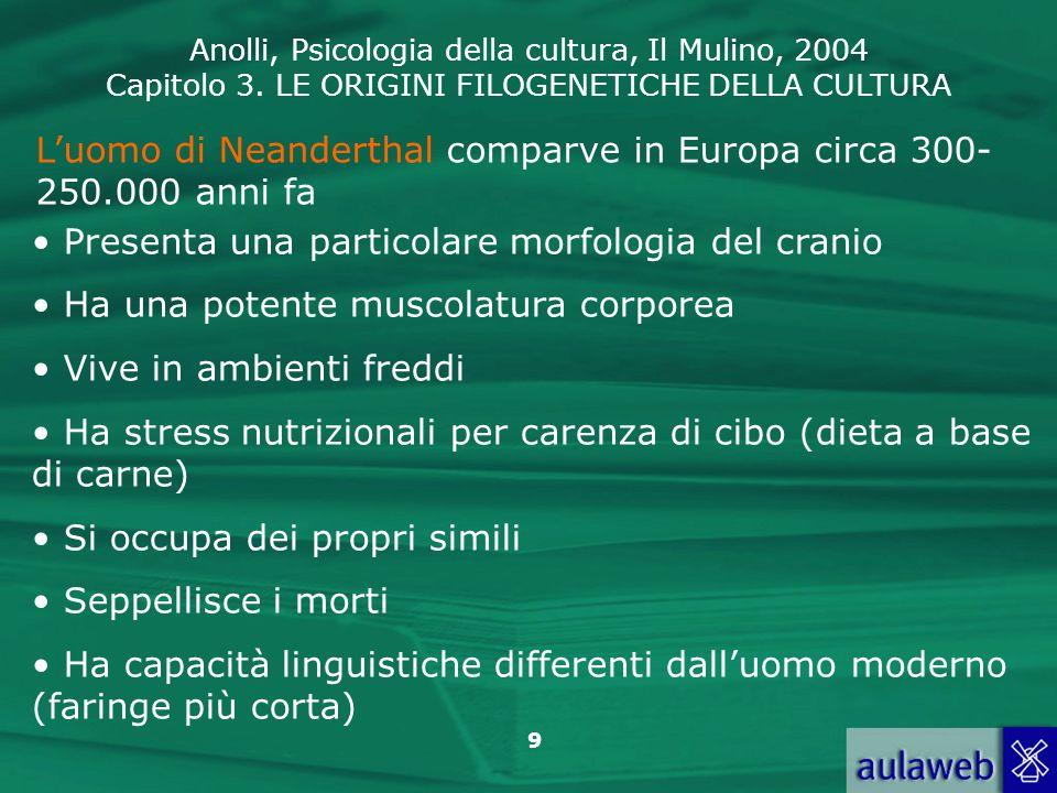 Anolli, Psicologia della cultura, Il Mulino, 2004 Capitolo 3. LE ORIGINI FILOGENETICHE DELLA CULTURA 9 Luomo di Neanderthal comparve in Europa circa 3