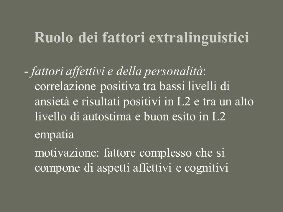 Ruolo dei fattori extralinguistici - fattori affettivi e della personalità: correlazione positiva tra bassi livelli di ansietà e risultati positivi in L2 e tra un alto livello di autostima e buon esito in L2 empatia motivazione: fattore complesso che si compone di aspetti affettivi e cognitivi
