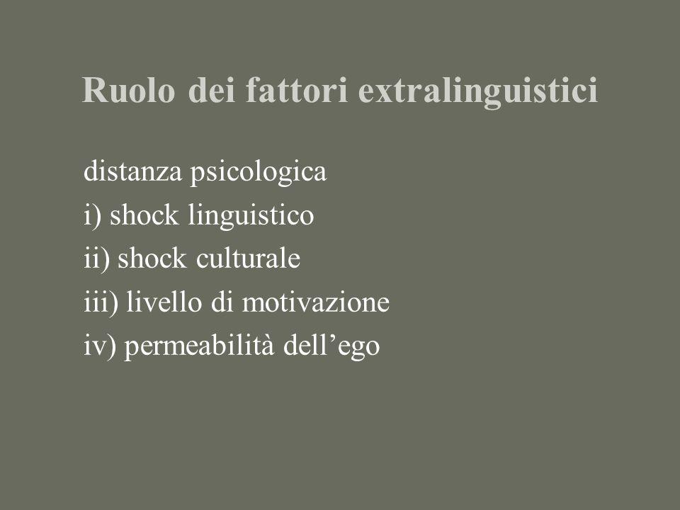 Ruolo dei fattori extralinguistici distanza psicologica i) shock linguistico ii) shock culturale iii) livello di motivazione iv) permeabilità dellego