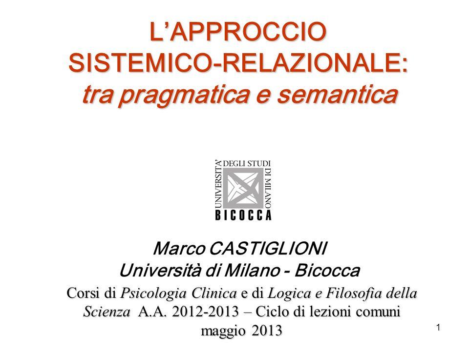 1 LAPPROCCIO SISTEMICO-RELAZIONALE: tra pragmatica e semantica Marco CASTIGLIONI Università di Milano - Bicocca Corsi di Psicologia Clinica e di Logic