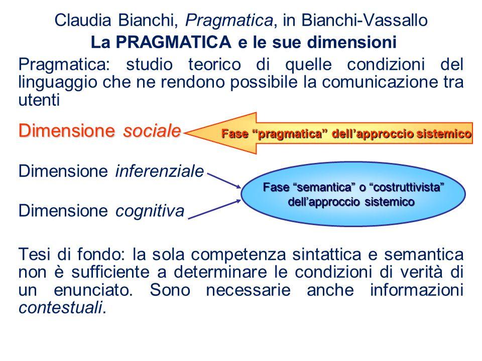 Claudia Bianchi, Pragmatica, in Bianchi-Vassallo La PRAGMATICA e le sue dimensioni Pragmatica: studio teorico di quelle condizioni del linguaggio che