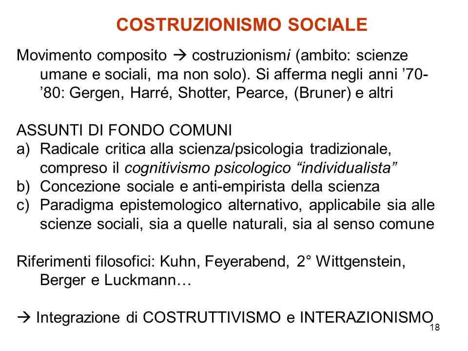 18 COSTRUZIONISMO SOCIALE Movimento composito costruzionismi (ambito: scienze umane e sociali, ma non solo). Si afferma negli anni 70- 80: Gergen, Har