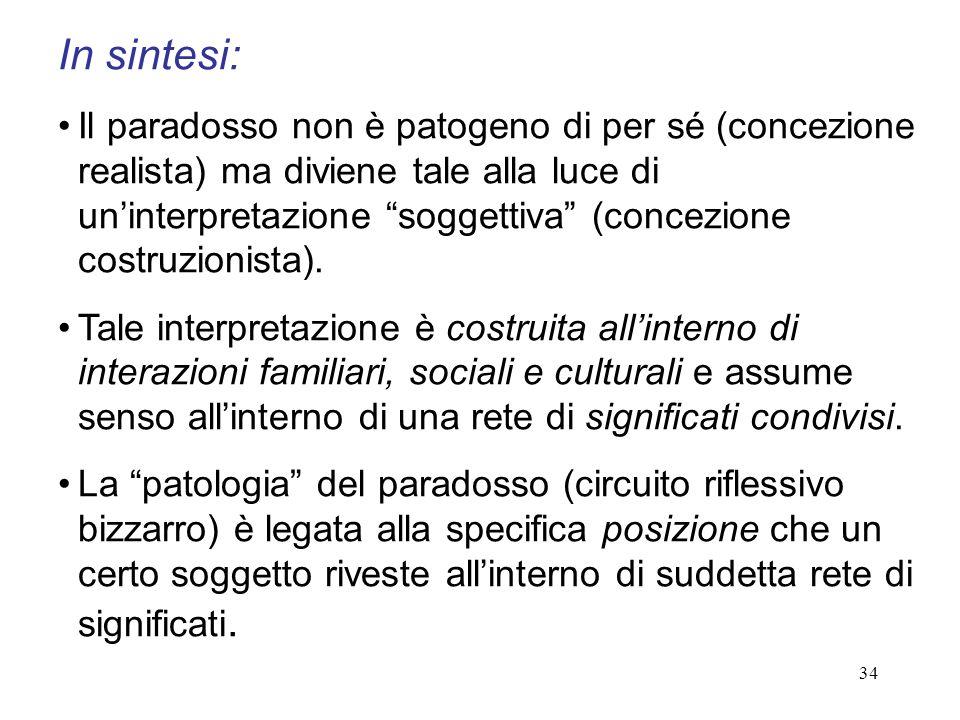 34 In sintesi: Il paradosso non è patogeno di per sé (concezione realista) ma diviene tale alla luce di uninterpretazione soggettiva (concezione costr