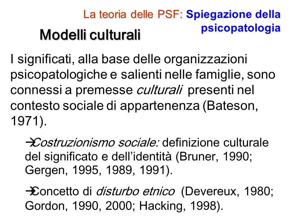 La teoria delle PSF: La teoria delle PSF: Spiegazione della psicopatologia Modelli culturali I significati, alla base delle organizzazioni psicopatolo