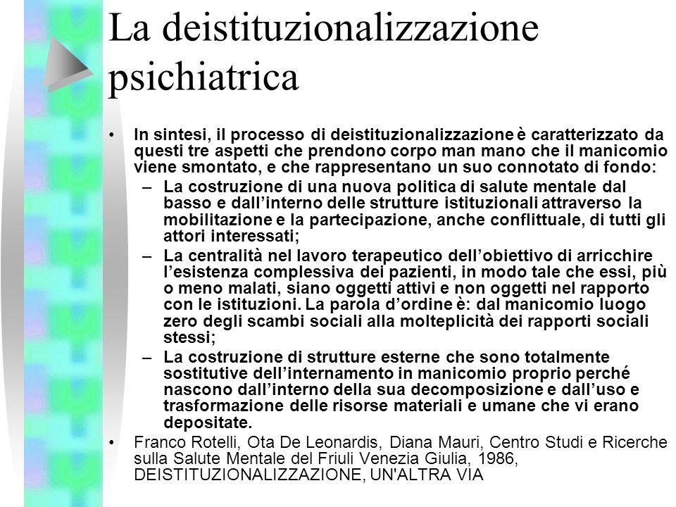 La deistituzionalizzazione psichiatrica In sintesi, il processo di deistituzionalizzazione è caratterizzato da questi tre aspetti che prendono corpo m