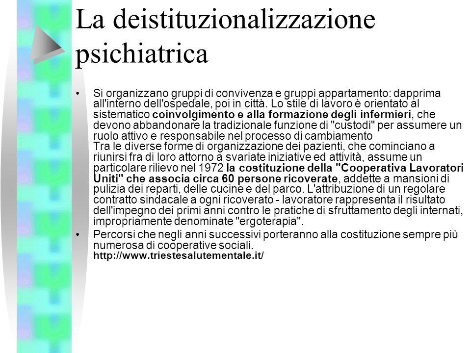 La deistituzionalizzazione psichiatrica Si organizzano gruppi di convivenza e gruppi appartamento: dapprima all'interno dell'ospedale, poi in città. L