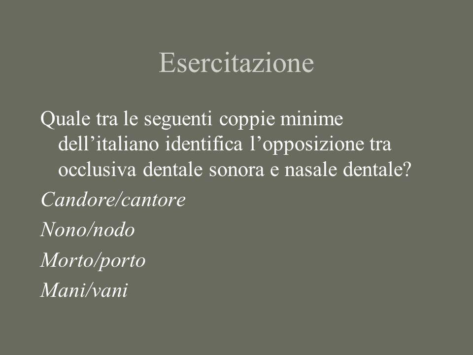 Esercitazione Quale tra le seguenti coppie minime dellitaliano identifica lopposizione tra occlusiva dentale sonora e nasale dentale? Candore/cantore