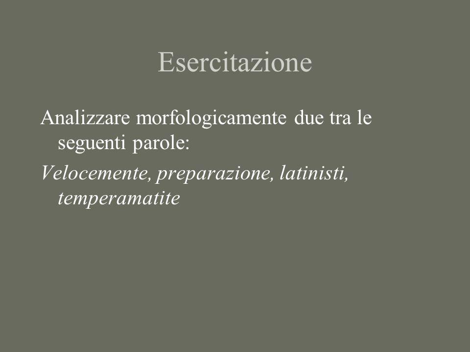 Esercitazione Analizzare morfologicamente due tra le seguenti parole: Velocemente, preparazione, latinisti, temperamatite