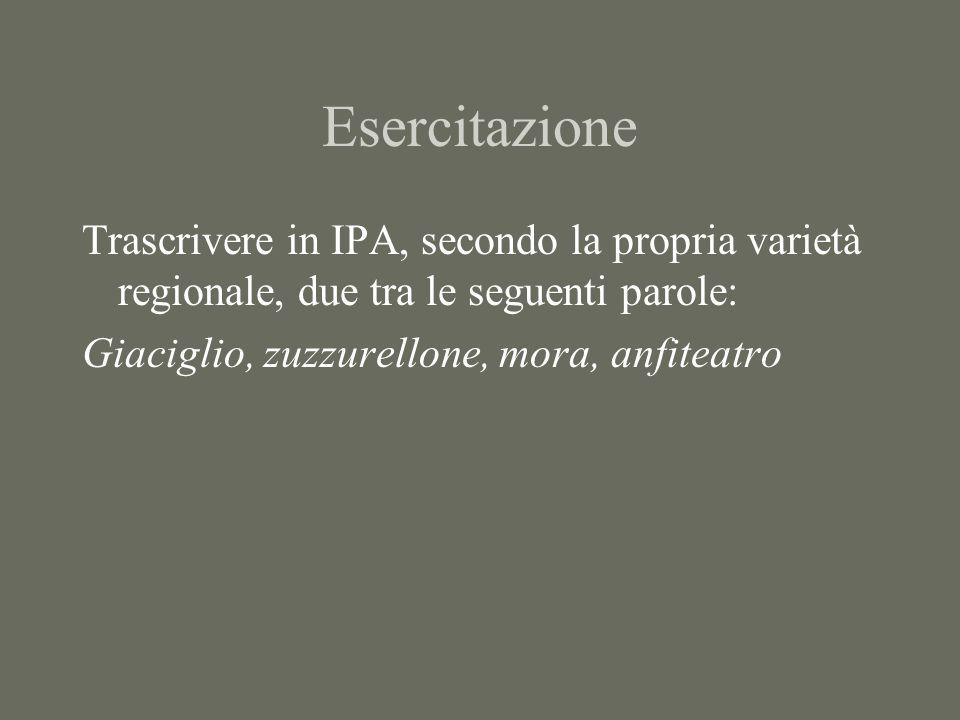 Esercitazione Trascrivere in IPA secondo la propria varietà di italiano regionale due tra le seguenti parole: Chiacchiere, mai, agnellino, Bicocca