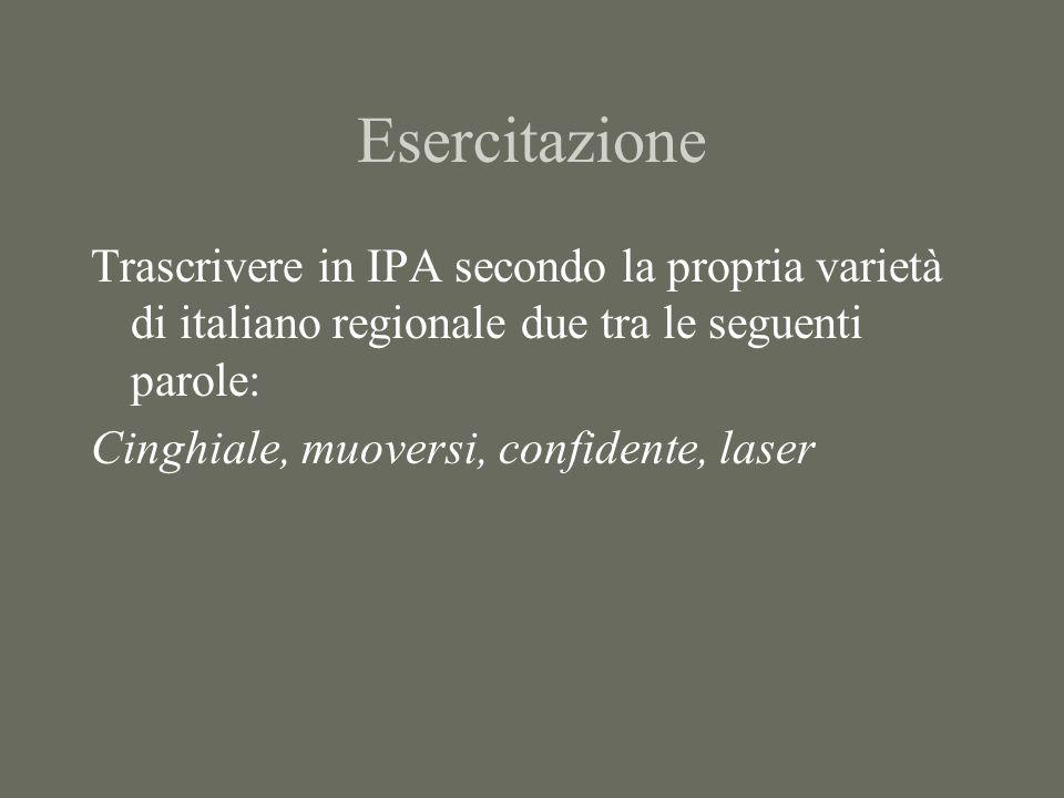 Esercitazione Trascrivere in IPA secondo la propria varietà di italiano regionale due tra le seguenti parole: Cinghiale, muoversi, confidente, laser