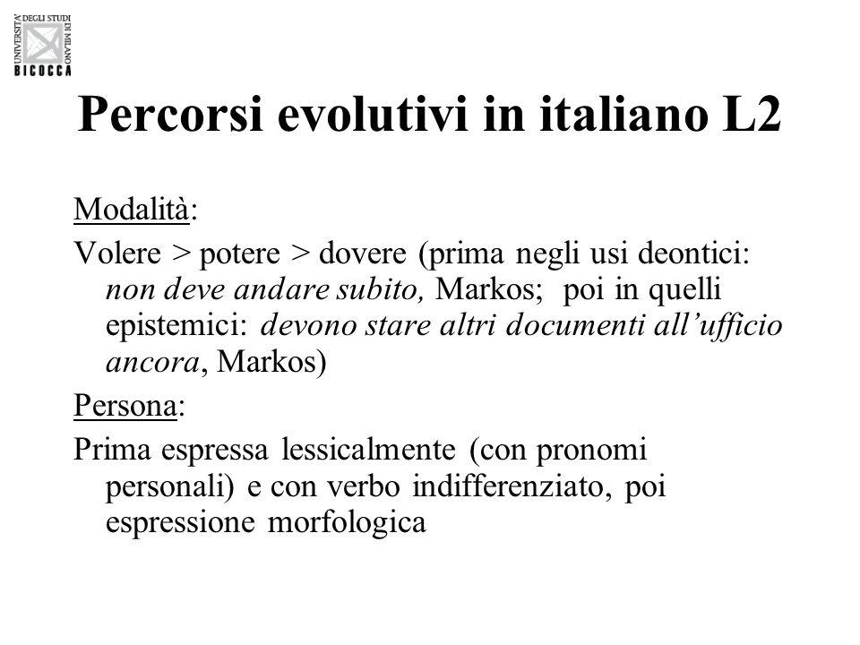 Percorsi evolutivi in italiano L2 Modalità: Volere > potere > dovere (prima negli usi deontici: non deve andare subito, Markos; poi in quelli epistemi