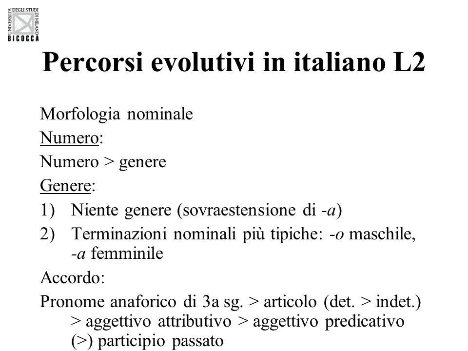 Percorsi evolutivi in italiano L2 Morfologia nominale Numero: Numero > genere Genere: 1)Niente genere (sovraestensione di -a) 2)Terminazioni nominali