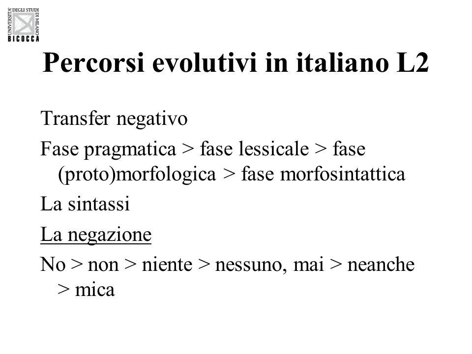 Percorsi evolutivi in italiano L2 Transfer negativo Fase pragmatica > fase lessicale > fase (proto)morfologica > fase morfosintattica La sintassi La n