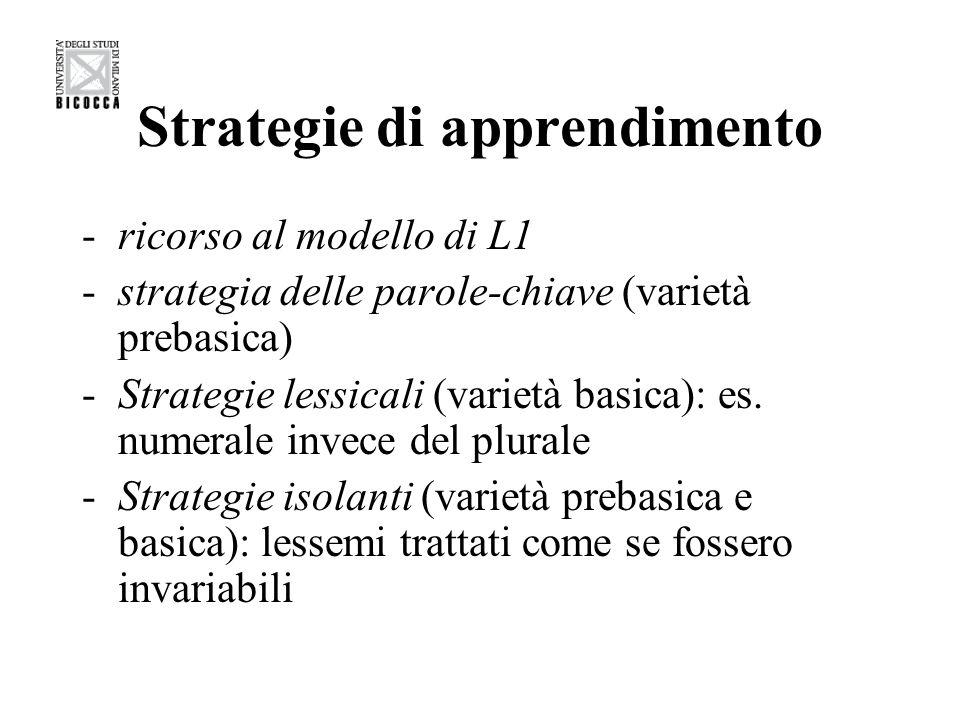 Strategie di apprendimento -ricorso al modello di L1 -strategia delle parole-chiave (varietà prebasica) -Strategie lessicali (varietà basica): es. num